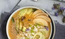 Velouté glacé de carottes façon smoothie-bowl salé