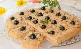 Foccacia au vin blanc et olives