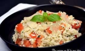 Risotto aux tomates, basilic et parmesan
