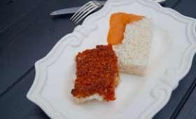 Cabillaud en crumble de chorizo et sauce au poivron