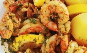 Crevettes sautées sauce citronnée
