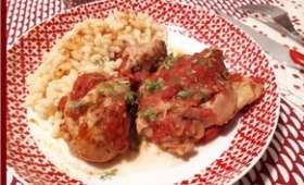 Poulet à l'ail et tomates à la cocotte