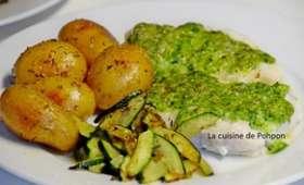 Filet de cabillaud au pesto de vert de courgette et pommes de terre grenaille
