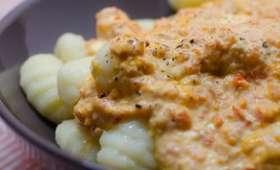 Gnocchi à la crème de poivron et au parmesan
