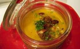 Soupe courge et châtaignes aux rôtis de châtaignes et amandes