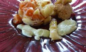 Rillettes de truite et tartare d'asperges, crème à l'estragon