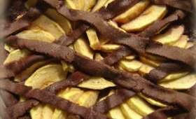 Tarte aux pommes, myrtilles et chocolat
