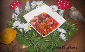 Minestrone de fruits frais et dôme de Caramel