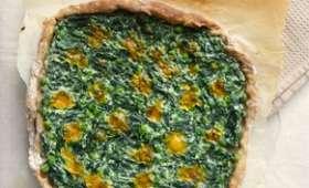 Pizza aux épinards, petits-pois et ricotta