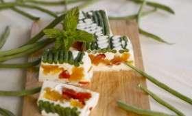 Panna cotta aux haricots verts et aux 3 tomates