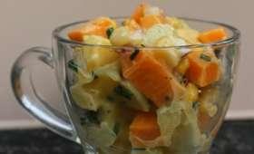 Salade au poulet, pommes de terre, mimolette et ananas