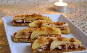 Toasts de pain perdu au foie gras, pomme et spéculoos