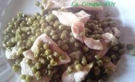 Petits filets de poulet aux petits pois et basilic