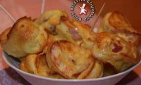 Mini crêpes soufflées aux lardons