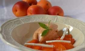 Glace aux abricots et oreillons rôtis, meringues à la verveine