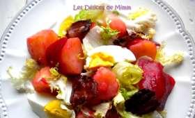 Salade chaude de pommes de terre, betteraves, œufs, lardons