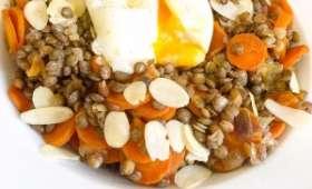 Lentilles et carottes aux épices, œuf mollet