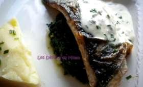 Filet de bar sur lit d'épinards et sauce crémeuse