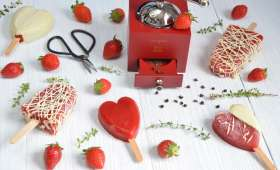 Esquimaux glacés fraises chocolat blanc