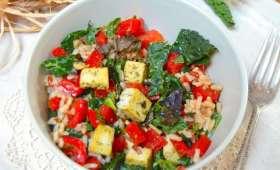 Salade de riz sauvage, poivron, chou kale et tofu