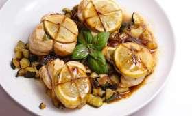 Poulet mariné au citron et basilic