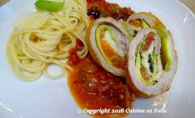 Involtini courgette, tomate, mozzarella sauce tomates et piment, Pitacou Tomate