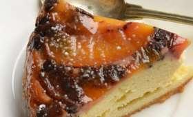 Gâteau renversé aux pêches et chocolat