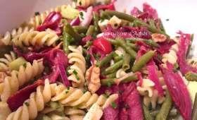 Salade de haricots verts et pâtes au magret de canard