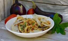 Tagliatelles aux aubergines confites