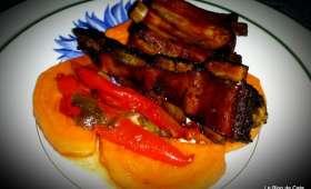 Côtes levées- Ribs laquées aux poivrons et patate douce