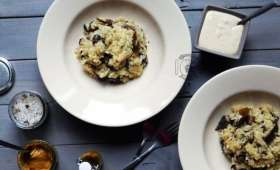 Risotto forestier à l'huile de truffes, et sa crème à la moutarde de truffes