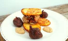 Tournedos de filet mignon de porc au foie gras et paprika avec figues farcies au foie gras