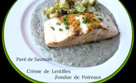Pavés de saumon à la crème de lentilles et fondue de poireaux