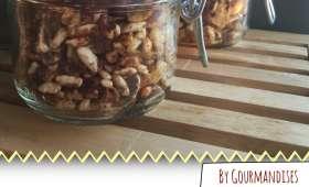 Granola au riz soufflé complet, noix,amande,noix de coco, miel