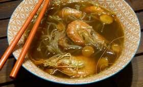 Soupe miso aux crevettes et au konjac