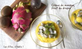 Crème de mangue, salade au fruit du dragon, kiwi et fruit de la passion
