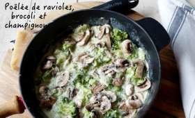 Poêlée de ravioles, brocoli et champignons