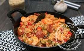 Riz créole, crevettes sautées et chorizo