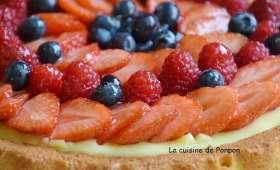 Tarte aux fraises, framboises et myrtilles