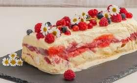 Semifreddo à la rhubarbe et aux fraises