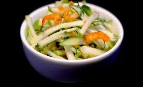 Salade granny smith menthe et crevettes séchées