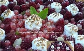 Tarte framboises et groseilles sur lit de crème pâtissière vanillée et ses touches meringuées