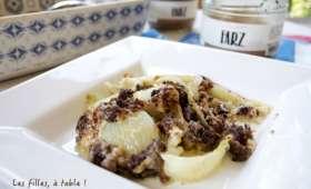 Gratin de fenouil et gorgonzola, crumble au Farz Gwinizh Du