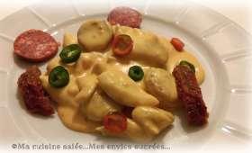 Aiguillettes de poulet sauce crémeuse au chorizo
