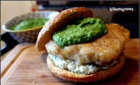 Burger fish and mashed peas