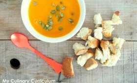 Soupe veloutée potimarron, patate douce et carottes