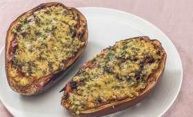 Aubergines farcies au jambon et aux cèpes
