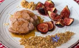 Filet mignon de porc au miel et aux figues confites