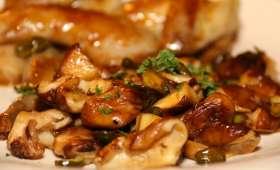 Cailles rôties au miel, Shii-takés sautés aux pistaches