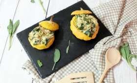 Pâtissons farcis aux épinards, poireaux et petit épeautre